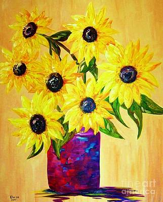 Pot Painting - Sunflowers In A Red Pot by Eloise Schneider