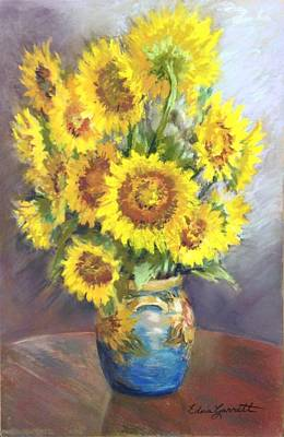 Drawing - Sunflowers In A Sunflower Vase by Edna Garrett