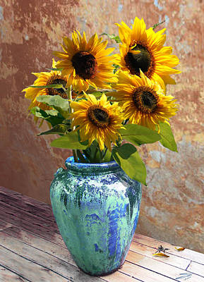 Digital Art - Sunflowers In Blue-green Vase by IM Spadecaller