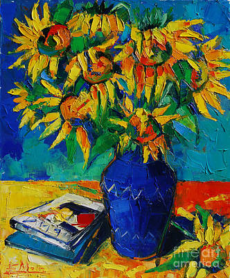 Light Green Abstract Painting - Sunflowers In Blue Vase by Mona Edulesco