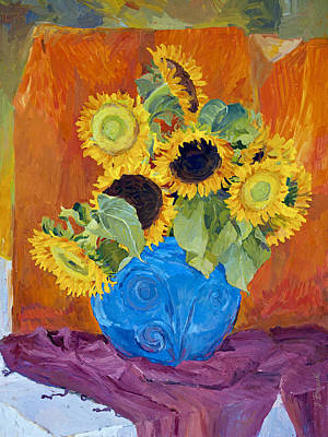 Painting - Sunflowers In Blue Vase by Judith Barath
