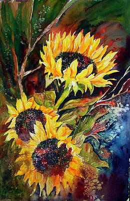 Painting - Sunflowers In Darkness by Arlys Hefty