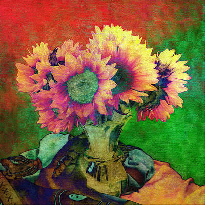 Photograph - Sunflowers In Green Vase by Sandra Selle Rodriguez