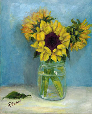 Sunflowers In Mason Jar Art Print by Sandra Nardone