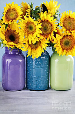 Sunflowers In Painted Mason Jars Art Print by Stephanie Frey