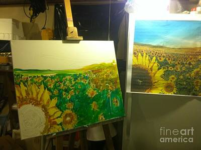 Painting - Sunflowers In Studio by Charlie Harris
