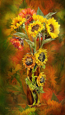 Autumn Art Mixed Media - Sunflowers In Sunflower Vase by Carol Cavalaris
