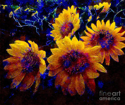 Painting - Sunflowers In The Dawn by Scott B Bennett