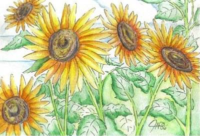 Art Print featuring the painting Sunflowers In The George Garden by The GYPSY And DEBBIE