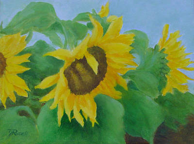 Painting - Sunflowers In The Wind Colorful Original Sunflower Art Oil Painting Artist K Joann Russell           by Elizabeth Sawyer