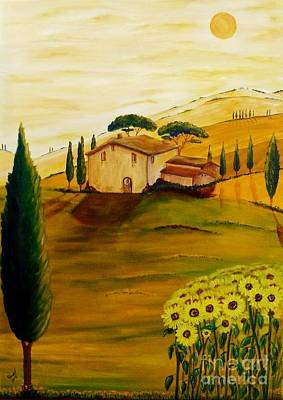 Tuscan Sunflowers Painting - Sunflowers In Tuscany by Christine Huwer