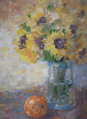 Painting - Sunflowers In Vase by Bart DeCeglie