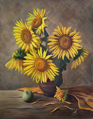 Painting - Sunflowers In Vase by Gynt Art