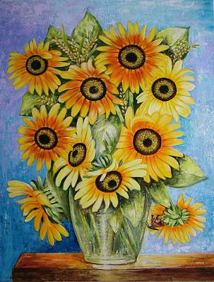 Realistic Painting - Sunflowers In Vase by Mariia Barabolia