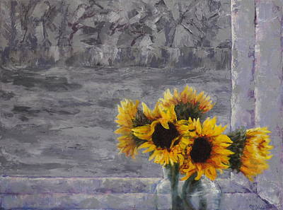 Sunflowers In Winter Original by Mary Haas
