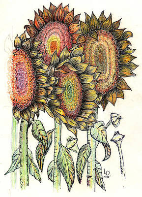 Mixed Media - Sunflowers by Lee Owenby