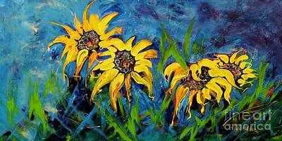 Art Print featuring the painting Sunflowers by Lyn Olsen