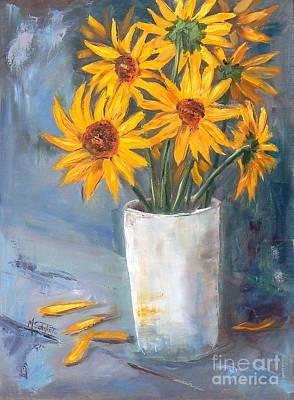 Flower Painting - Sunflowers by Marietjie Du Toit