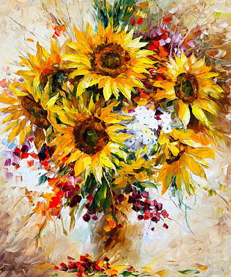 Afremov Painting - Sunflowers Of Happiness New by Leonid Afremov