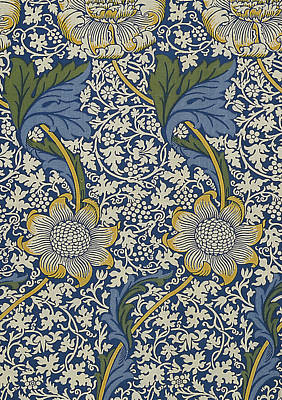 Tapestries - Textiles Digital Art - Sunflowers On Blue Pattern by William Morris
