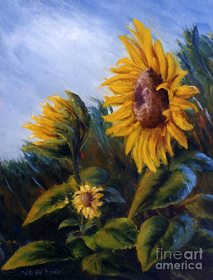 Art Print featuring the painting Sunflowers On Green Hill Under Blue Sky by Lenora  De Lude
