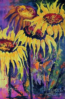 Art Print featuring the painting Sunflowers On Purple by Lyn Olsen