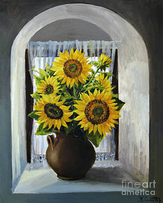 Sunflowers On The Window Art Print by Kiril Stanchev