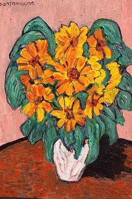 Girasol Painting - Sunflowers On White Vase by Rodrigo Santamarina