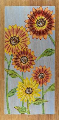 Sunflowers On Wood Panel I Art Print by Elizabeth Golden