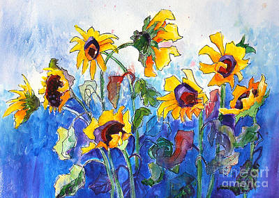 Art Print featuring the painting Sunflowers by Priti Lathia