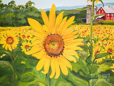 Painting - Sunflowers - Red Barn - Pennsylvania by Jan Dappen