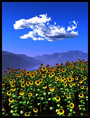 Digital Art - Sunflowers... by Tim Fillingim
