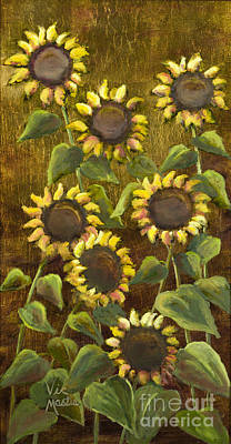 Painting - Sunflowers With Gold Leaf By Vic Mastis by Vic  Mastis