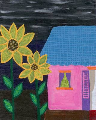 Fauna Painting - Sunflowers With Home by Melissa Vijay Bharwani