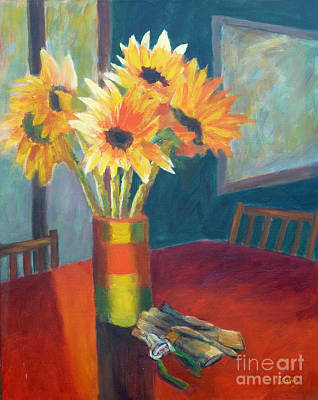 Painting - Sunflowers With Pruners  by Carolyn Jarvis