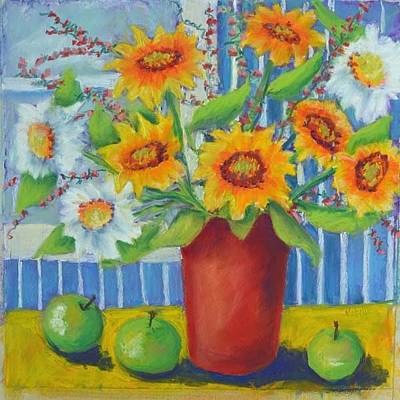 Pastel - Sunflowes Red Vase by Pat Olson