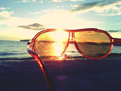 Sunglasses On Beach During Sunset Art Print by Ashley Stone / Eyeem