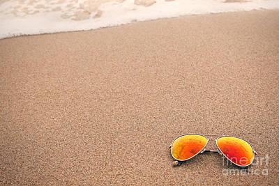 Sunglasses On The Beach Art Print by Sharon Dominick