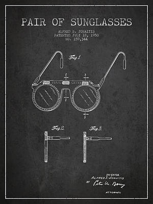 Sunglasses Patent From 1950 - Dark Art Print by Aged Pixel
