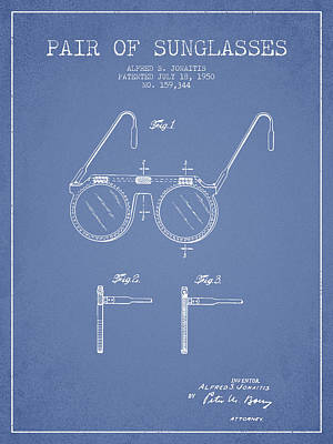 Sunglasses Patent From 1950 - Light Blue Art Print by Aged Pixel