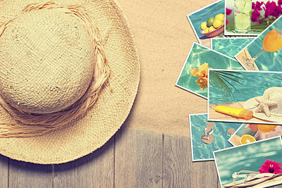 Sunhat And Postcards Art Print by Amanda Elwell