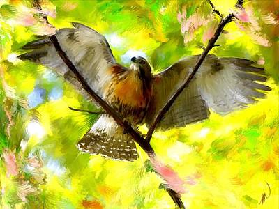 Flying Hawks Digital Art - Sunhawk's Cry by Richard Okun