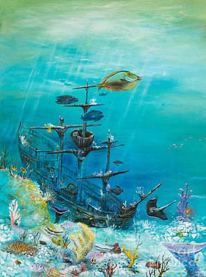 Sunken Ship Habitat Art Print by John Garland  Tyson