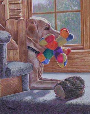 Labrador Drawing - Sunkissed by Debbie Stonebraker