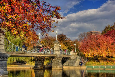 Autumn Scene Photograph - Sunkissed Lagoon Bridge by Joann Vitali