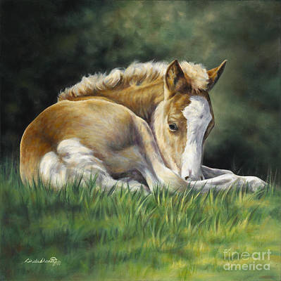 Palomino Foal Painting - Sunkissed by Linda Shantz