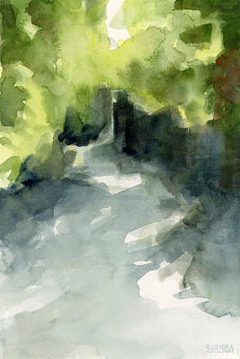 Contemporary Landscape Painting - Sunlight And Foliage Conservatory Garden Central Park Watercolor Painting by Beverly Brown Prints
