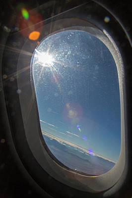 Passenger Plane Photograph - Sunlight Flare In Aircraft Window by Jim West