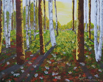 Painting - Sunlit Forest  by Artistic Indian Nurse