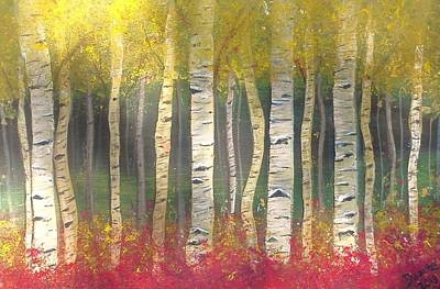Sunlight On Aspens Art Print